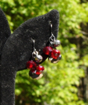 Hematite and Red Crystal Cha Cha Dangle Pierced Earrings - $10.00