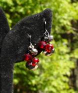 Hematite and Red Crystal Cha Cha Dangle Pierced Earrings - $20.00
