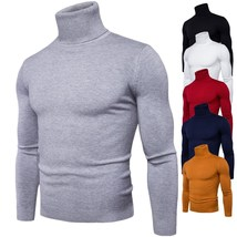 Men Knitted Sweater Autumn Winter Turtleneck Long Sleeve Casual Pullover... - $30.99