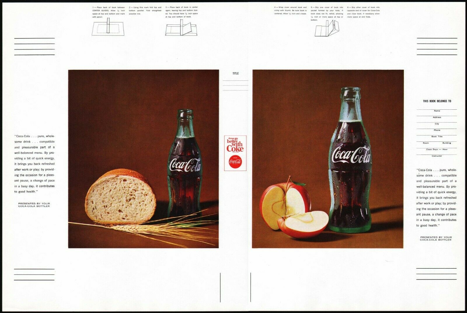 Primary image for Vintage book cover COCA COLA picturing a bottle with bread and an apple n-mint+