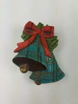 Hallmark Holiday Christmas Pin Blue Bells with Holly & Red Bow - $9.65