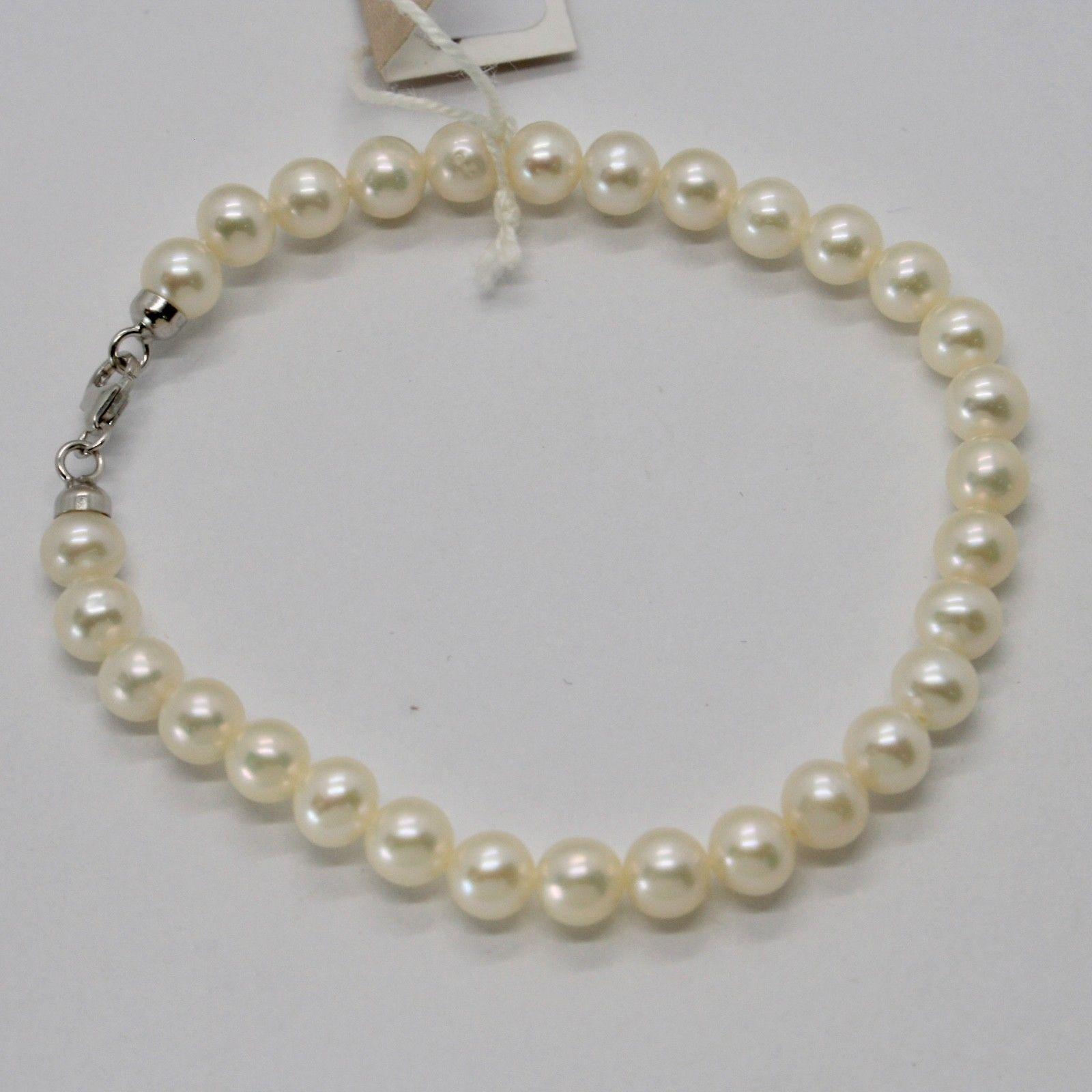 Bracelet en or Blanc 18KT et Argent 925 avec Perles 5.5 6 mm Beau Boîte image 5