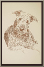 Airedale Terrier dog art portrait drawing PRINT 73 Kline adds dog's name free. - $49.45