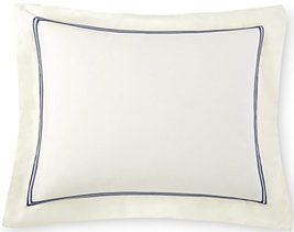 Venezia Pillow Sham Tencel / Cotton Double Rows Stitch Embroidery Design... - $24.45