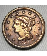 1851 Large Cent XF Details Coin AE632 - $46.37