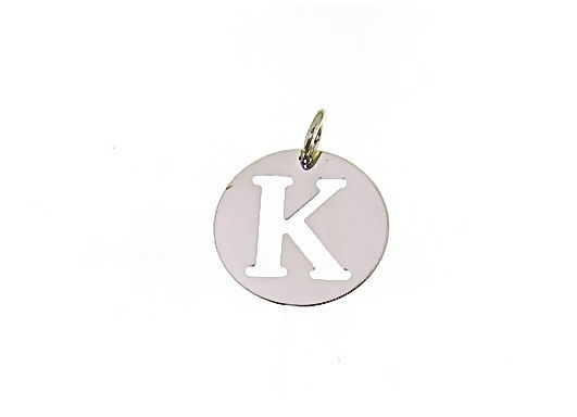18K WHITE GOLD ROUND MEDAL WITH INITIAL K LETTER K MADE IN ITALY DIAMETER 0.5 IN