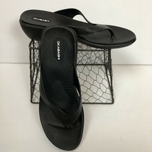 Okabashi Sandals Flip Flop Thongs Black Wedge Women's Size ML - $15.15