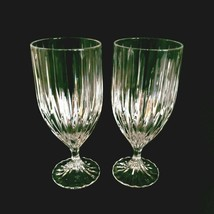 2 (Two) Mikasa Park Lane Cut Lead Crystal Ice Tea Goblets Glasses Discontinued - $61.74