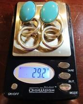 Vintage Large Sterling Silver Double Rings Blue Glass Hoop Earrings 29.2... - $51.48