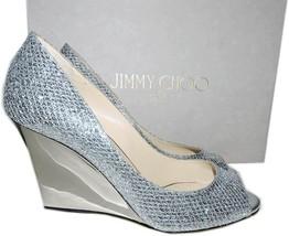 Jimmy Choo Silver Glitter Peep Toe Wedge Sandal Espadrilles Shoe 37.5 Pu... - $289.99