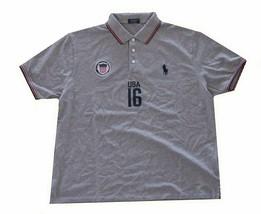 Ralph Lauren Mens Grey Custom Fit USA Country Polo Shirt LT Large Tall 3492-3M - $42.07