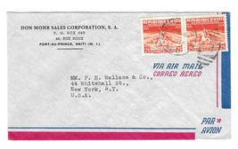 1957 Haiti Airmail Cover Port au Prince Duplex Cancel to US Sc# 401 25c - $5.50