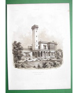 ARCHITECTURE PRINT 1860s : Germany View Villa of Industrialist Ravene at... - $29.70
