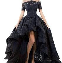 Hi-Lo Prom Dress Short Sleeve Lace Evening Dress Off The Shoulder Maxi Dresses - $134.99