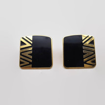 Vintage Laurel Burch Naito Black Enamel & Gold Tone Earrings  - $13.58