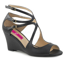"""PLEASER Sexy 3"""" Wedge Heel Strappy Black Faux Leather Sandals Shoes KIM0... - $1.029,66 MXN"""