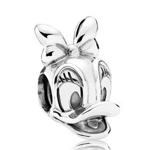 925 Sterling Silver Disney Daisy Duck Portrait Charm Bead Fit Pandora QJ... - $19.99