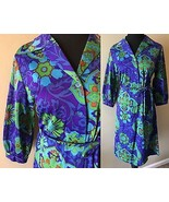 Vintage 1970s Purple Green Psychedelic Floral Belted Tie Shirt Dress sz ... - $29.95
