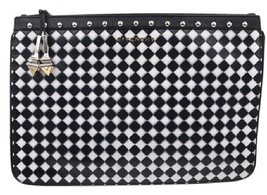 Givenchy Black White Checker Silver Stud Clutch - $466.57