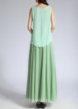 CHIFFON MAXI Skirt Sage-Green Long Silk Chiffon Maxi Skirts Bridesmaid Skirts image 3