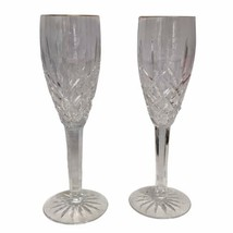 Pair Of Waterford Ireland Crystal Lismore Pattern Champagne Flutes Gold ... - $60.78