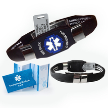 Waterproof ELITE Medical Alert ID Bracelet, 10 lines engraving (Black) - $41.95