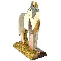 Northwoods Handmade Wooden Parquetry Standing Wolf Sculpture Figurine image 4