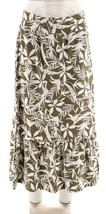 Denim & Co Printed Jersey Skirt Flounce Deep Olive L NEW A266462 - $23.74