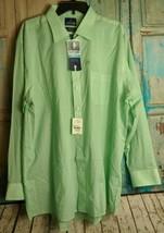 Stafford Mens 18 34-35 Big & Tall Dress Shirt Long Sleeve Travel Green NWT - $17.82