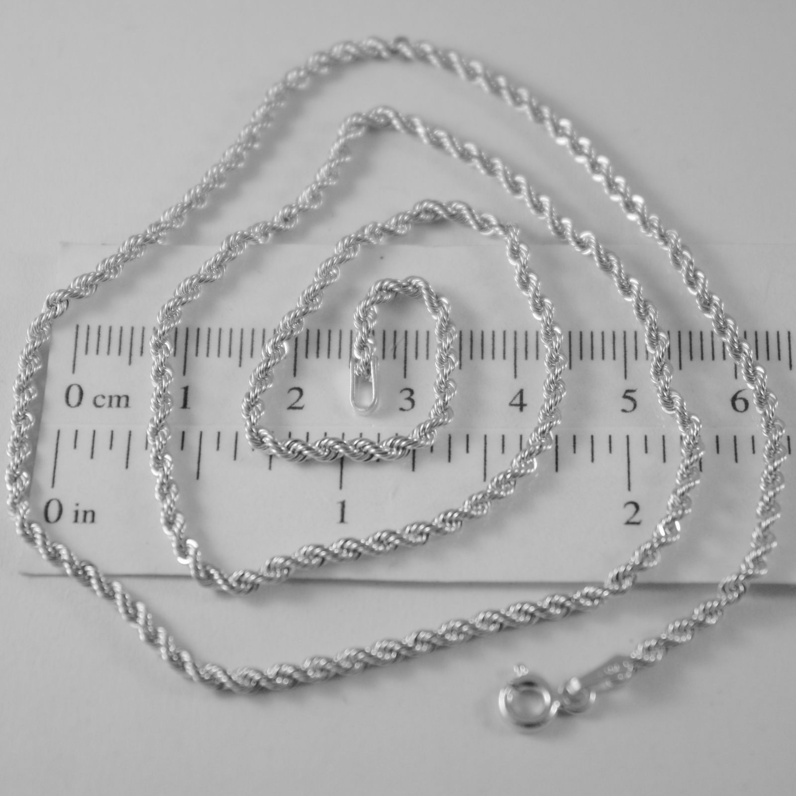 18K WHITE GOLD CHAIN NECKLACE, BRAID ROPE MESH 19.69 INCHES 2.5 MM MADE IN ITALY