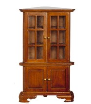 Dollhouse Miniatures Walnut Corner Hutch #T6036 - $16.50