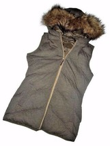 MICHAEL KORS full zip OLIVE Down Vest green REVERSIBLE faux fur Medium M - $84.11