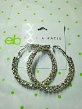Kelly & Katie Fashion Earrings Silver Tone Simulated Diamond Large Hoop ... - $15.83