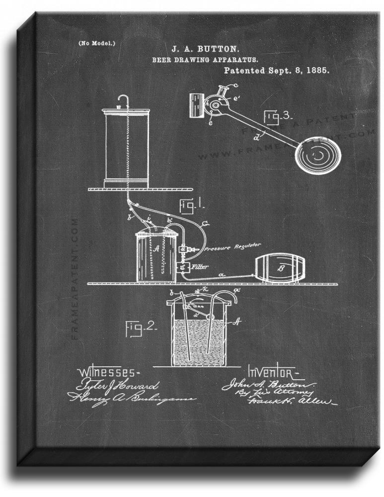 Primary image for Beer Drawing Apparatus Patent Print Chalkboard on Canvas