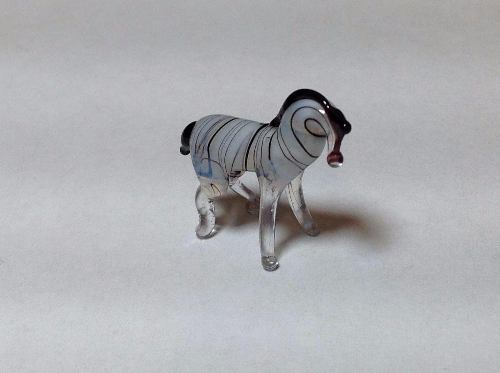 Miniature Glass white gray horse or zebra Handmade Blown Glass Made USA