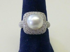 Vintage 9 mm White Pearl Pave Diamond in 18 Karat White Gold Size 6 1/2 - €478,09 EUR