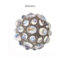 Gemstone Findings Jewelry .925 Silver Moonstone 1.48 Ct Diamond Pave Bea... - $439.45