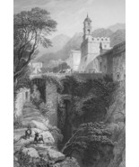 ITALY Eastern Gate of Sorrento - 1864 Fine Quality Print Engraving - $49.50