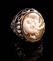 Naughty Mermaid ring / sterling nude cameo / Romantic carved Mermaid / G... - $245.00