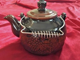 Japanese Teapot Glazed Red Clay Grape Leaves Design Black & Brown Vintage - $46.74
