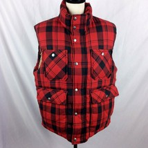 Gap Mens Vest S Red Black Buffalo Plaid Sherpa Thick Puffer Front Pocket... - $58.90