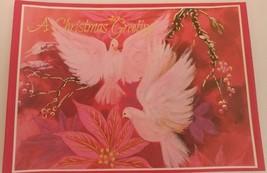 Vintage Greeting Card Christmas Greetings Doves Pop up Holiday Card Unused - $13.99