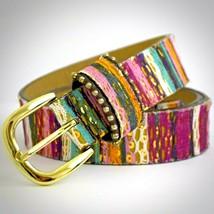 Striped Belt M Textile Sequin Pink Blue Gold Tone Buckle JBP1077 Boho Wo... - $24.70