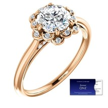 1.25 Carat Moissanite Forever One & Diamond Floral Halo Ring in 14K Rose... - $895.00