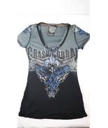 Crash & Burn Fleur de Lis Embellished Studs Graphic Tee Shirt Top Womens... - $19.79