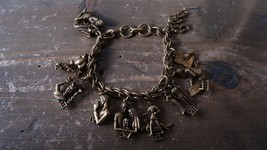 "Vintage GOld Tone CORO Ten Commandments Religious Charm Bracelet 7"" - $39.59"