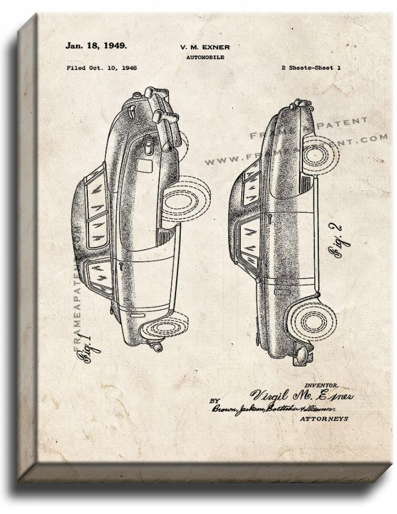 Primary image for Automobile Patent Print Old Look on Canvas