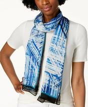 Calvin Klein Abstract Silk Chiffon Scarf One Size Teal Blue - $50 - NWT - $23.75