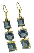 Blue Gold Plated Glass splendid Blue Topaz CZ freely Earring UK gift - $13.17