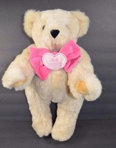 Vermont Teddy Bear Be Mine Jointed Brown Pink Bow Heart Plush Stuffed An... - $13.30